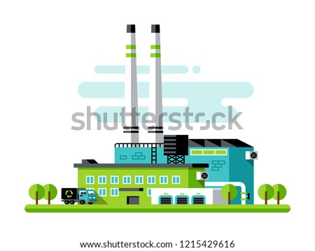 Eco factory illustration. Waste recycling plant. Modern flat style with bright colors.