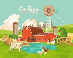 Eco farm poster vector illustration. Colorful countryside banner in vintage style. Organic food. Farm landscape with retro objects.