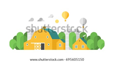 Eco farm. Rural lifestyle. Rural landscape with rural buildings, farm. Vector illustration rural landscape.