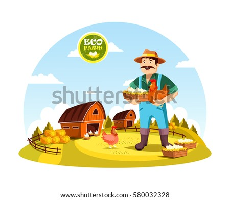 Shutterstock Eco farm with farmer holding eggs and hen near field with barns and hay. Cartoon man or person with organic or natural food near fence or spade, agrarian worker profession. Village, countryside theme
