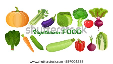 Eco food menu background. Fresh organic food, healthy eating vector illustration in flat style. vegetables for farm market, vegetarian salad recipe design #589006238