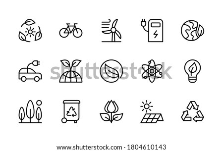 Eco friendly and alternative energy sources in minimal style. Linear symbols of ecology. Simple set of vector linear icons.  Energy icon collection. Isolated contour illustrations for websites.