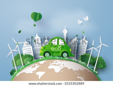 Eco-friendly car in the city.paper art and digital craft style.