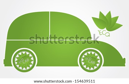 Eco friendly car vector illustration. Green energy hybrid car vector design. Creative green ecological vehicle with leaf tire. Easy to edit vector illustration.