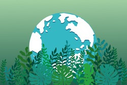 Eco friendly concept, Green city save the world. Ecology and Environmental Concept, Earth Symbol  Help The World With Eco-Friendly Ideas. Vector EPS 10.
