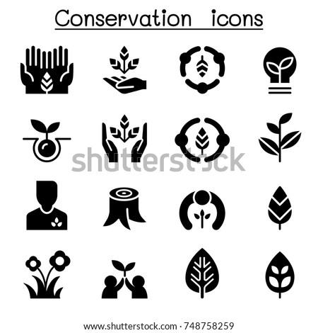 Eco friendly & Conservation icon set Vector graphic design