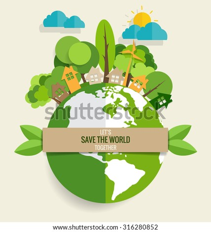 Shutterstock ECO FRIENDLY. Ecology concept with Green Eco Earth and Trees. Vector illustration.