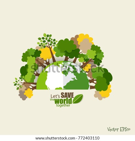 ECO FRIENDLY. Ecology concept with Green Eco Earth and Trees. Vector illustration. Foto stock ©