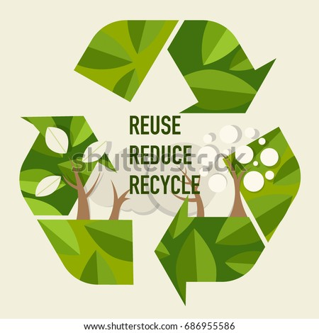 ECO FRIENDLY. Ecology concept with Recycle symbol and tree. Vector illustration. Foto d'archivio ©