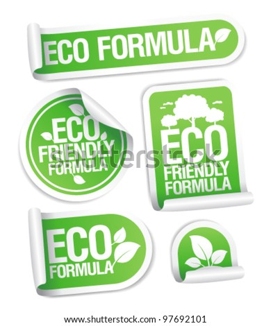 Eco Friendly Formula stickers set.