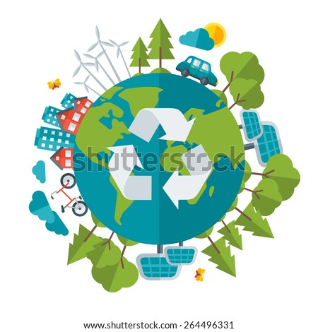 Eco Friendly, green energy concept, vector illustration. Solar energy town, wind energy, electric cars. Save the planet concept. Go green. Save the Earth. Earth Day. - stock vector