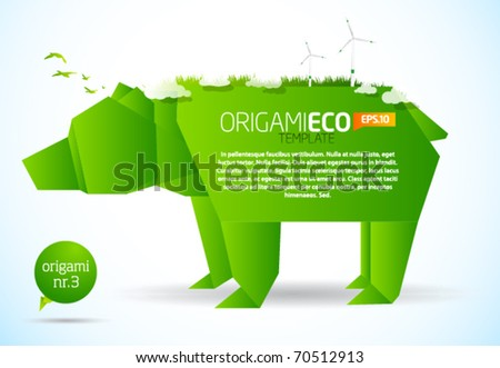 Eco friendly green origami template bear