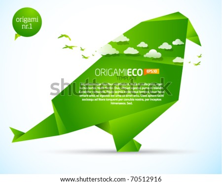 Eco friendly green origami template bird
