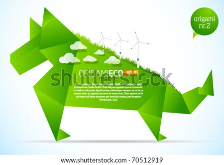 Eco friendly green origami template dog