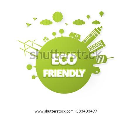 eco friendly label vector design
