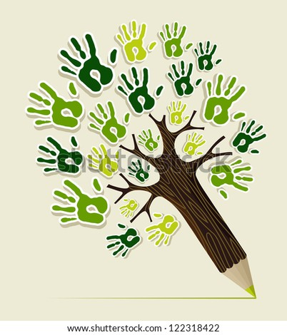 Eco friendly pencil tree hands concept illustration. Vector file layered for easy manipulation and custom coloring.