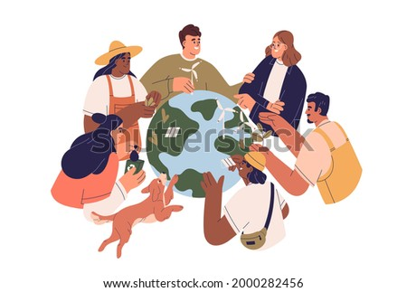 Eco-friendly people with Earth globe, saving planet, protecting and caring about environment. Concept of ecology awareness and sustainability. Flat vector illustration isolated on white background