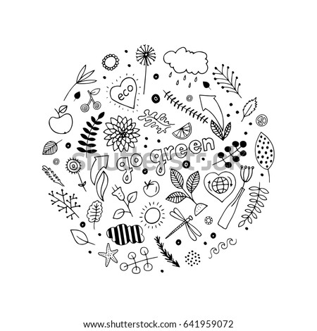Eco friendly set of abstract isolated design elements. Hand drawn vector black and white illustrations. Cartoon, doodle. Go green. Save the nature.