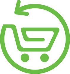 Eco Friendly shopping cart icon for an eCommerce company
