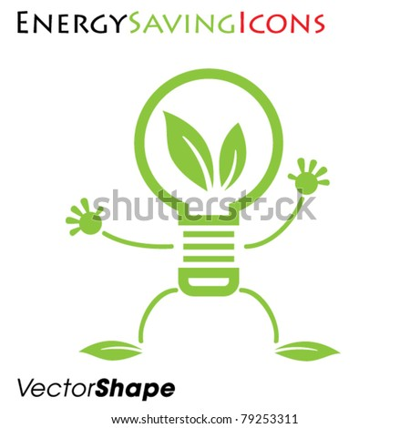 Eco friendly waving light bulb, energy saving concept, vector illustration