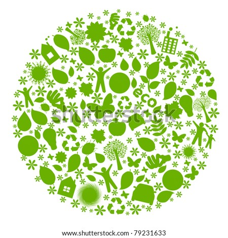 Eco Globe, Isolated On White Background, Vector Illustration