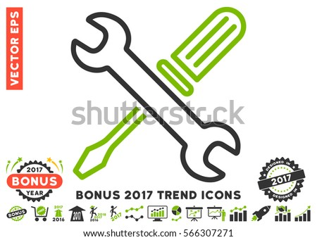 Eco Green And Gray Tuning Tools pictogram with bonus 2017 trend pictograms. Vector illustration style is flat iconic bicolor symbols, white background.