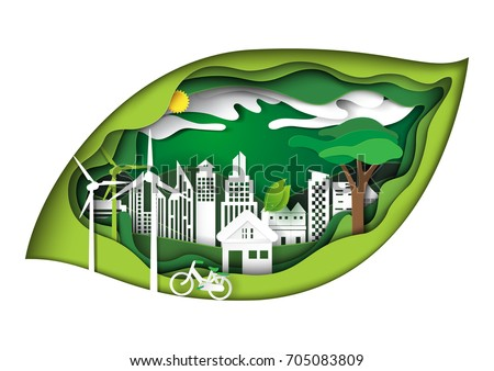 Eco green city concept in green leaf shape paper carve background.Nature landscape and environment conservation paper art style design template.Vector illustration.
