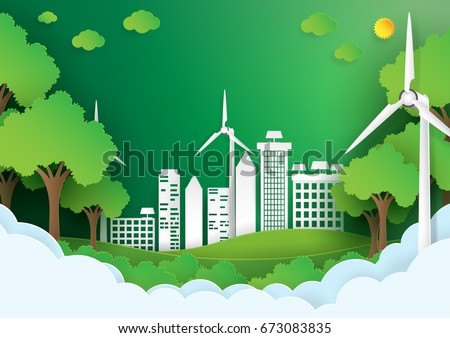 Eco green city.Save the world and environment concept.Urban landscape for green energy paper art style.Vector illustration.