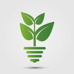 eco green energy concept,plant growing inside light bulb