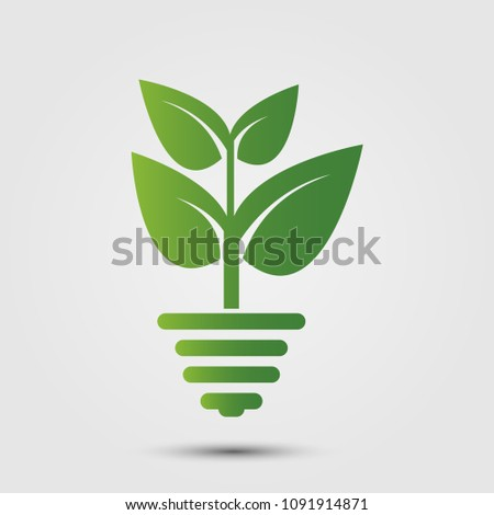 eco green energy concept,plant growing inside light bulb