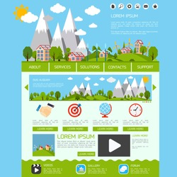 Eco green energy nature web site design template video gallery forum buttons vector illustration