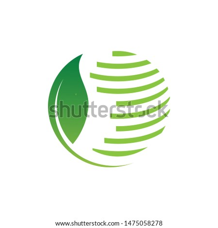 eco green leaf global globe logo design vector illustrations