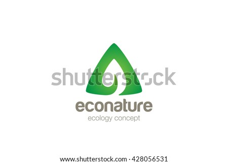 Eco Green Leaf Triangle abstract Logo design vector template Negative space. Letter A symbol.