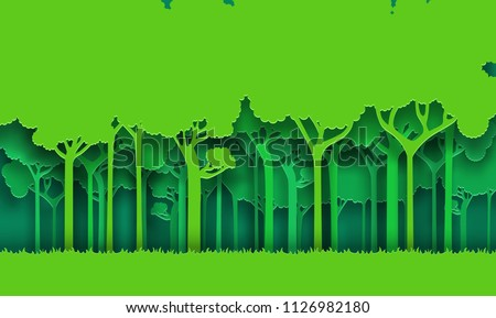 Eco green nature forest background. Paper art style. Vector illustration.