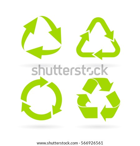 Eco green recycled symbol set vector illustration isolated on white background. Recycled icon eps.Flat design web elements for website, app or infographics materials.