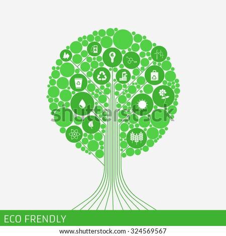 eco green tree icon green