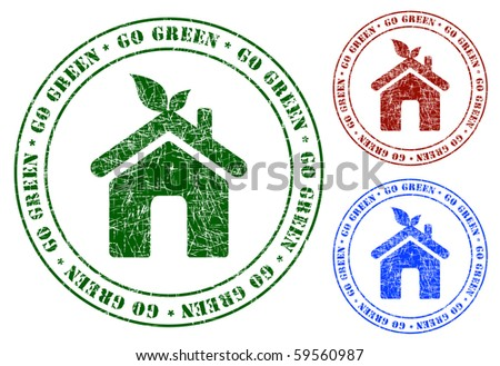 Eco Home Sign Grunge Stamps