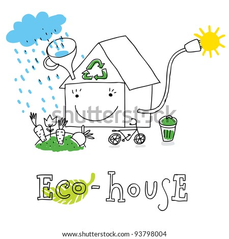 Eco house; ecology and environment protection, vector drawing ; isolated on background.