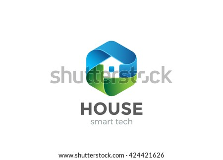Eco House Logo abstract design vector template in Hexagon shape. Home services Household Ecology green smart Logotype concept icon.