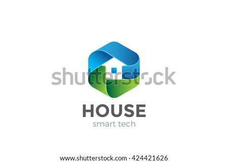 Eco House Logo abstract design vector template in Hexagon shape. Home services Household Ecology green smart Logotype concept icon.