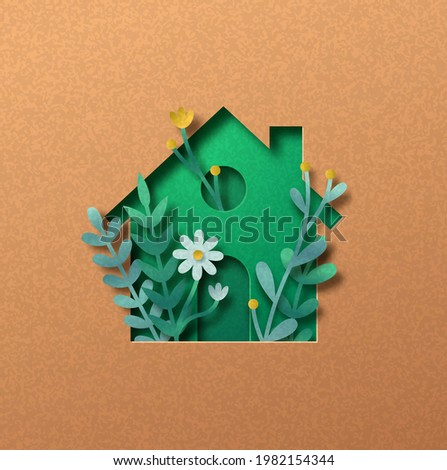 Eco house papercut illustration concept with green leaf and flower garden inside. 3D clean energy home cutout craft in recycled paper background. Sustainable architecture or real estate design.