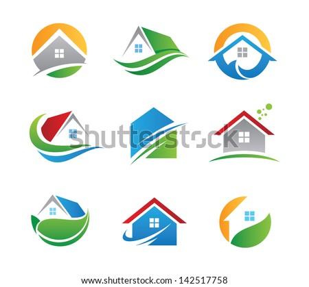 Дом и цифры логотип вектор — Векторное изображение