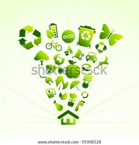 Eco icon house - stock vector