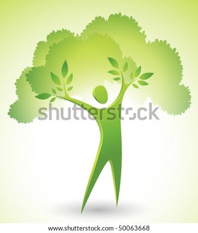 eco icon of a green tree man