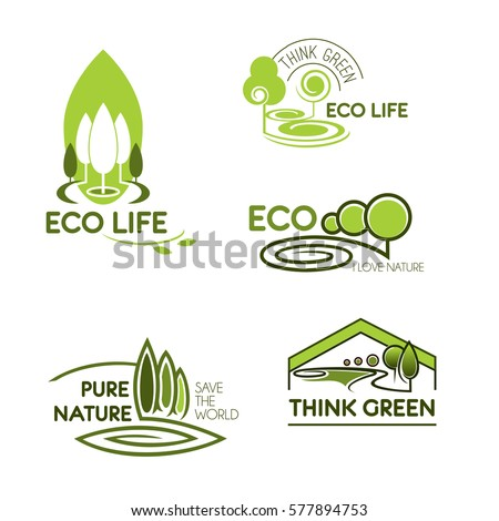 Eco icon set. Eco life, think green and pure nature green signs with trees and plants. Ecology, environment protection, save the world themes design