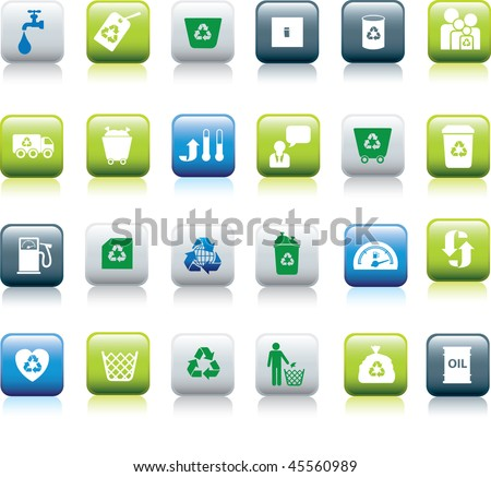 Eco icon set illustrated as green, blue and white buttons