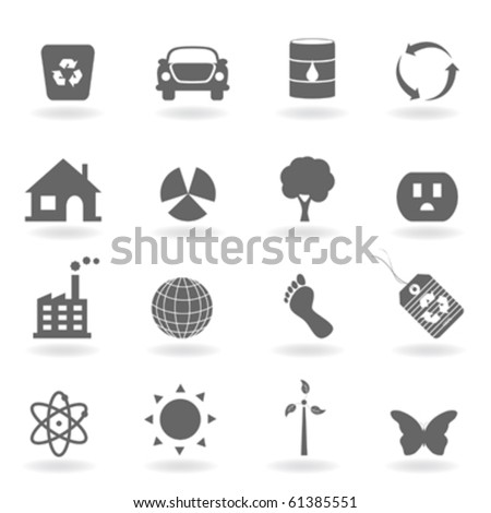 Eco icon set in grayscale