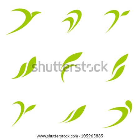 Eco icons. Ecology logo template elements. Vector.