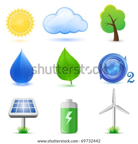 Eco icons. Highly detailed vector icons. Ecological and environmental icons.