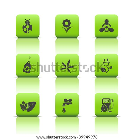 Eco icons in green buttons